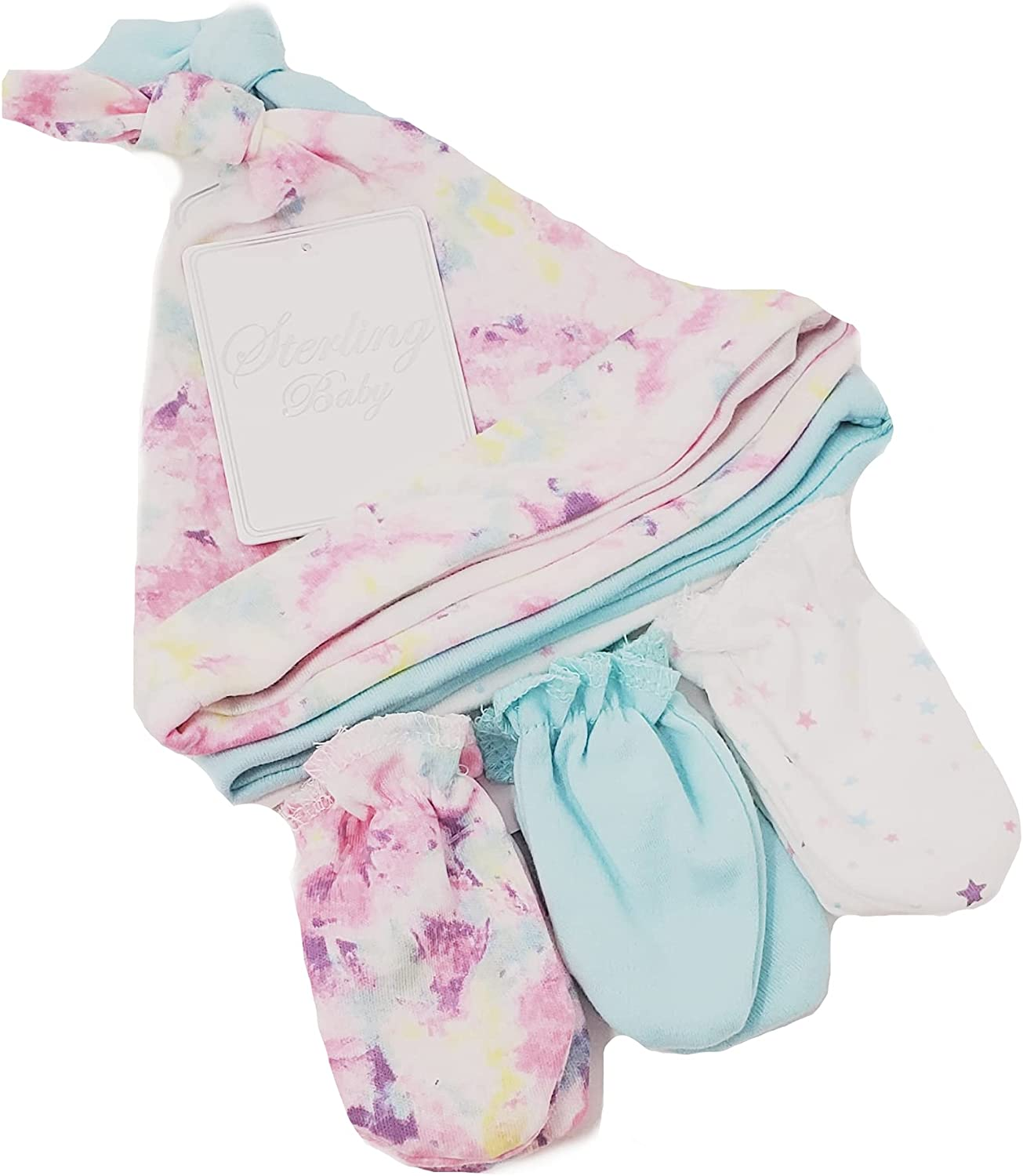 Sterling Baby Girls' Hats and Mittens 6pcs Set
