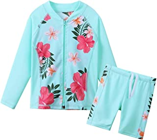 ZNYUNE Kids Girls Long Sleeve Rashguard 2-Piece Swimsuit Set Bathing Suit with Zipper UPF 50+ Sun Protection