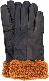 قفاز جلدي من Surell بحواف من فرو الشيربا الصناعي - إكسسوارات الشتاء للنساء (لون كستنائي، مقاس كبير)