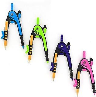 مقیاس بازوی رنگی (بنفش ، سبز ، آبی ، و صورتی) Emraw Bright با مداد چوب شماره 2 که برای ریاضی و هندسه استفاده می شود - عالی برای مدرسه ، خانه و دفتر - (4-بسته)
