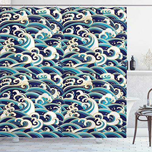 Ambesonne Nautical Shower Curtain, Traditional Oriental Style Ocean Waves Pattern with Foam and Splashes Print, Cloth Fabric Bathroom Decor Set with Hooks, 75' Long, Blue Gold