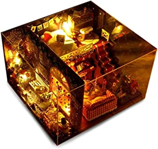 WEIWEI Realistic Toys 3D Puzzles DIY Christmas Miniature Dollhouse Kit Realistic Mini 3D Wooden House Room Craft with Furn...