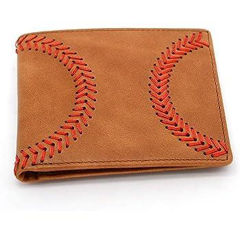 Baseball Genuine Leather Mens Bi-fold Wallet Personalized