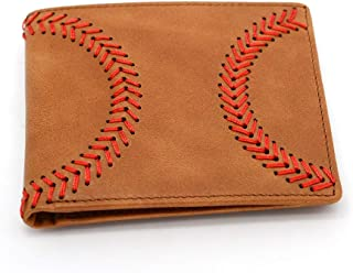 Baseball Wallet Genuine Leather Bifold RFID Blocking Raised Baseball Stitch