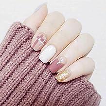 Geroki Art Square Press on Nails Pink Short Fake Nails Glossy Full Cover Acrylic Fake Nails for Women and Girls 24Pcs