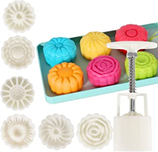 Moon Cake Flower Moon Cake Mold Hand Pressure Mould 1 Barrel 6 Stamps 50g (1.8 x 6.2 inch)