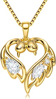 Heart Pendant Necklaces for Women with Swarovski Dainty Cubic Zirconia Diamond Love Swan Necklace 18K Gold Plated Meaningful Mother Daughter Necklace for Her