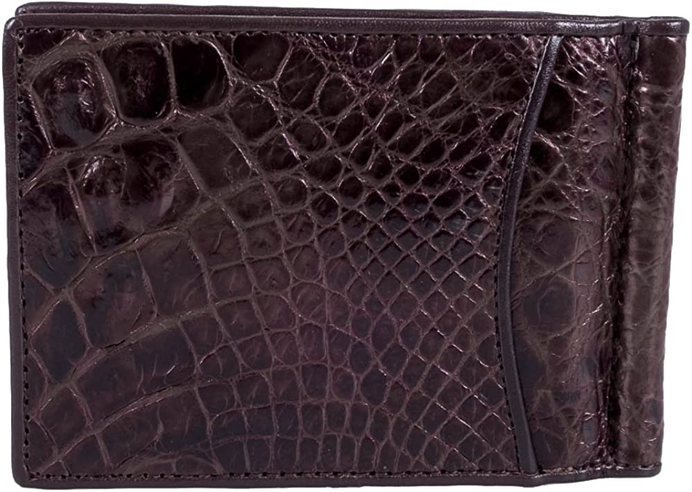 Mens Crocodile Skin Pattern Embossed Genuine  Leather Strong Magnetic Money Clip