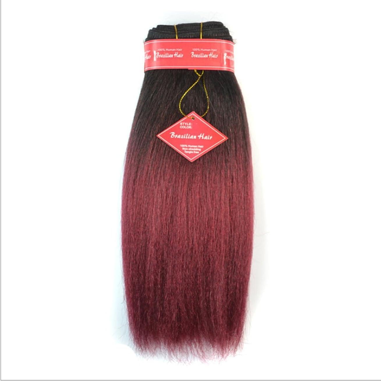 サスペンション蒸留常習者BOBIDYEE アフリカの黒人女性やブラジルの女性のためのやけどのかつらではない本物の髪の拡張子のふわふわストレートウィッグのための12インチのストレートヘアーカーテン合成レースのかつらロールプレイングかつら (色 : Black gradient burgundy)