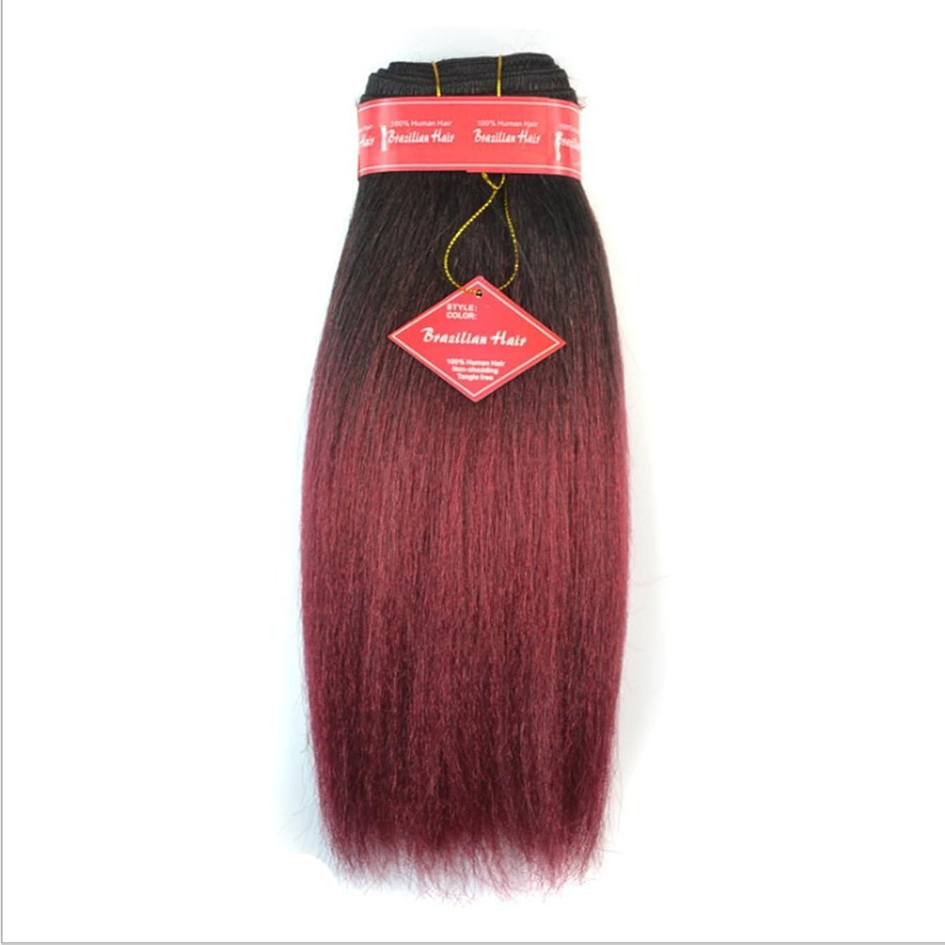 判定空気スロベニアDoyvanntgo リアルな髪のエクステンションのふわふわストレートウィッグ用の12インチストレートヘアカーテンはアフリカのブラックレディーまたはブラジルの女性のためのかつらを燃やさない(黒のグラデーションワインレッド、ダークブラウングラデーションライトブラウン) (Color : Black gradient burgundy)