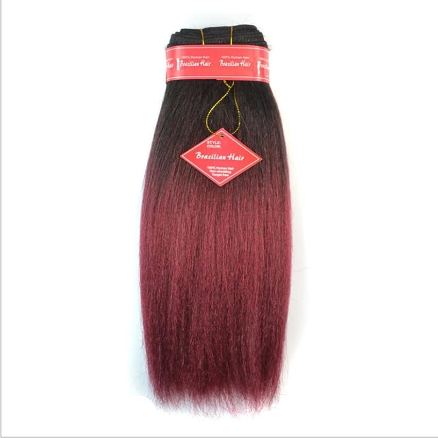 下向きできればセージBOBIDYEE アフリカの黒人女性やブラジルの女性のためのやけどのかつらではない本物の髪の拡張子のふわふわストレートウィッグのための12インチのストレートヘアーカーテン合成レースのかつらロールプレイングかつら (色 : Black gradient burgundy)