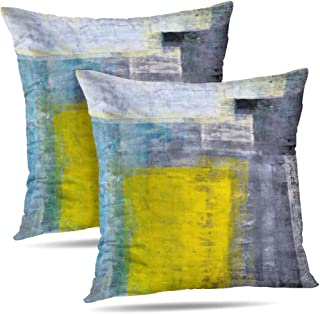 Alricc Set of 2 Teal Grey and Yellow Art Modern Contemporary Office Wall Decorative Throw Pillows Cushion Cover for Bedroom Sofa Living Room 18 x 18 Inch