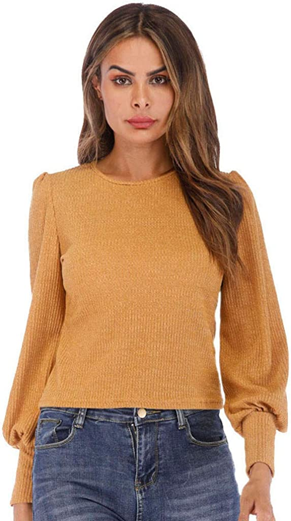 Lutos Womens Solid Knit Long Lantern Jumper Lowest price challenge Tunic Shirt B Sleeve Cheap