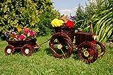 DEKO VERTRIEB BAYERN Premium Traktor+Anhänger 120cm dunkel Korbgeflecht Rattan Körbe Pflanzkorb Pflanzkasten, Gartendeko, Pflanzkasten, Blumenkasten, Pflanzhilfe