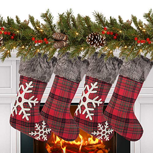 Sunnyglade 4 Pack 18.5' Christmas Stocking Classic Red & Black Buffalo Plaid Stockings and Plush Faux Fur Cuff Stockings for Family Holiday Christmas Party Decorations