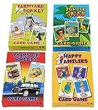 Cuatro juegos de cartas para niños de la marca Carammunmunig - Farmyard Donkey, Happy Families, Jungle Snap & Pairs On Wheels , color/modelo surtido