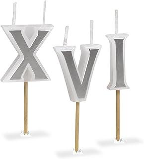 شموع عيد ميلاد وأرقام رومانية من شركة فريد رومان، مجموعة من 8 قطع