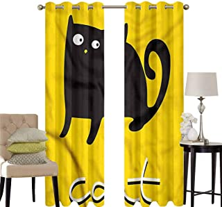 hengshu Kawaii Black Out Window Curtain 2 Panel Black Cat Silhouette Design Living Room Curtains for Bedroom W100 x L84 Inch