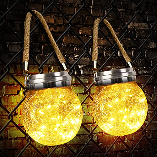 Linterna Solar Exterior, Zorara Farolillo Solares 2 Piezas 30 Leds Colgante Luz Solar Exterior Jardín IP65 Impermeable, Farol Solar Lámpara Color Cálido Vidrio Luce para Terraza Camino Mesa Patio ⭐