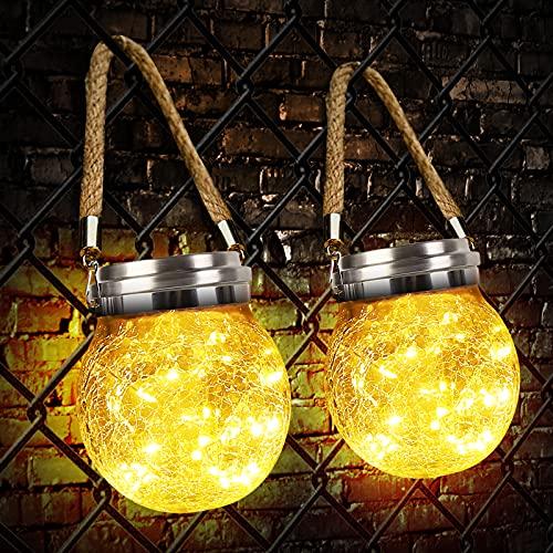 Linterna Solar Exterior, Zorara Farolillo Solares 2 Piezas 30 Leds Colgante Luz Solar Exterior Jardín IP65 Impermeable, Farol Solar Lámpara Color Cálido Vidrio Luce para Terraza Camino Mesa Patio