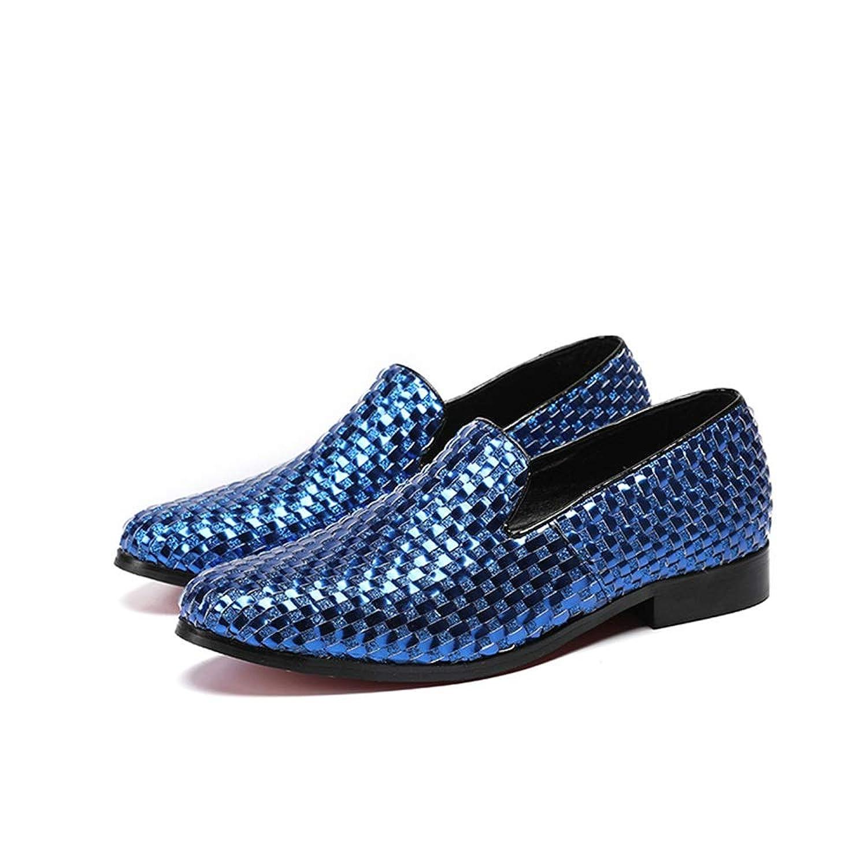 Rui Landed 織りテクスチャカジュアルオックスフォード男性ラウンドトゥスリップオン本革ブロックヒールパーティーナイトクラブドレスシューズ (Color : 青, サイズ : 25.5 CM)
