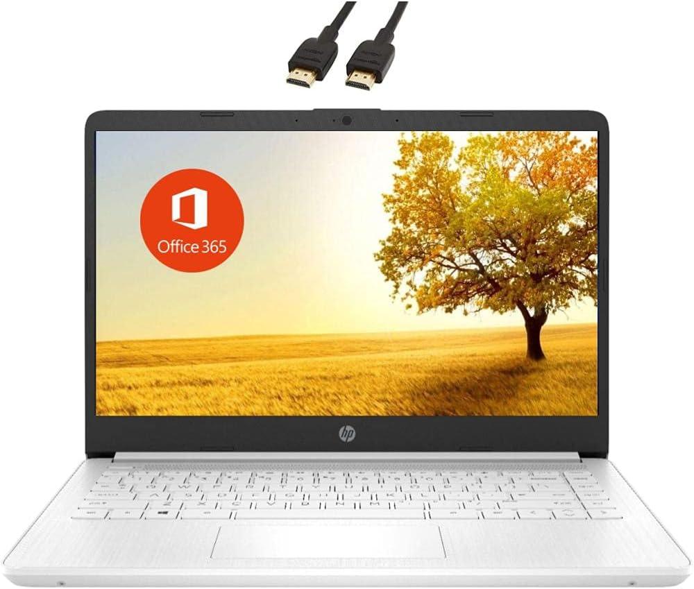 2021 Newest HP Premium 14-inch HD Laptop| Intel Celeron N4020 to 2.8GHz 8GB RAM 128GB(64GB SSD+ 64GB SD Card)| Webcam Bluetooth HDMI USB-C Wi-Fi| Windows 10 S with 1 Year MS 365| VAATE Bundle| White