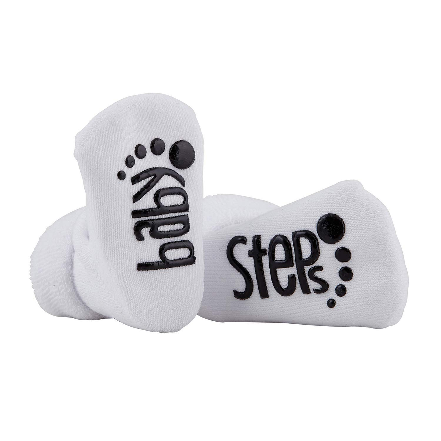 Stephan Baby Non-Skid Silly Socks with Cute Sayings, Baby Steps, Fits 3-12 Months
