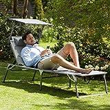 blumfeldt Amalfi Juicy Lime Liegestuhl Sonnenliege Gartenliege Liegefläche (ergonomische Form, verstellbare Sonnenblende, 5-stufig verstellbare Rückenlehne, Metallrahmen, Pulverbeschichtung) grün - 3