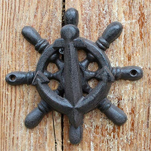 Boat Ship Steering Wheel Door Knocker Handle Vintage Metal Gate Pulls Handles Knocker For Country Cottage Modern Townhouse Manor Gate Handles Hardware Set