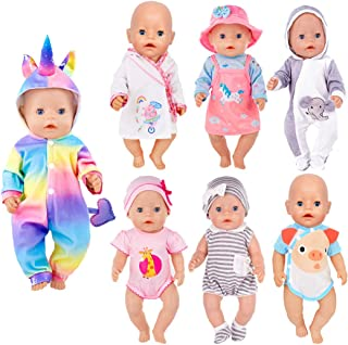 iBayda 7 Sets 14-16 inch Doll Clothes Accessories Include Dress,Romper,Outfit and Hat Doll Clothes Accessories for 43cm Ne...