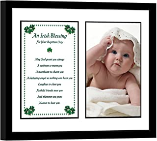 Poetry Gifts Baptism Gift, Irish Blessing for Girl or Boy in 8x10 Inch Black Frame, Add Photo
