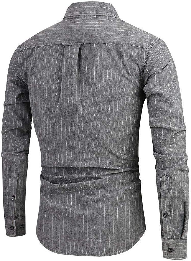 MODOQO Men's Long Sleeve Slim Fit Stripe Casual Button Down Dress Shirt Top