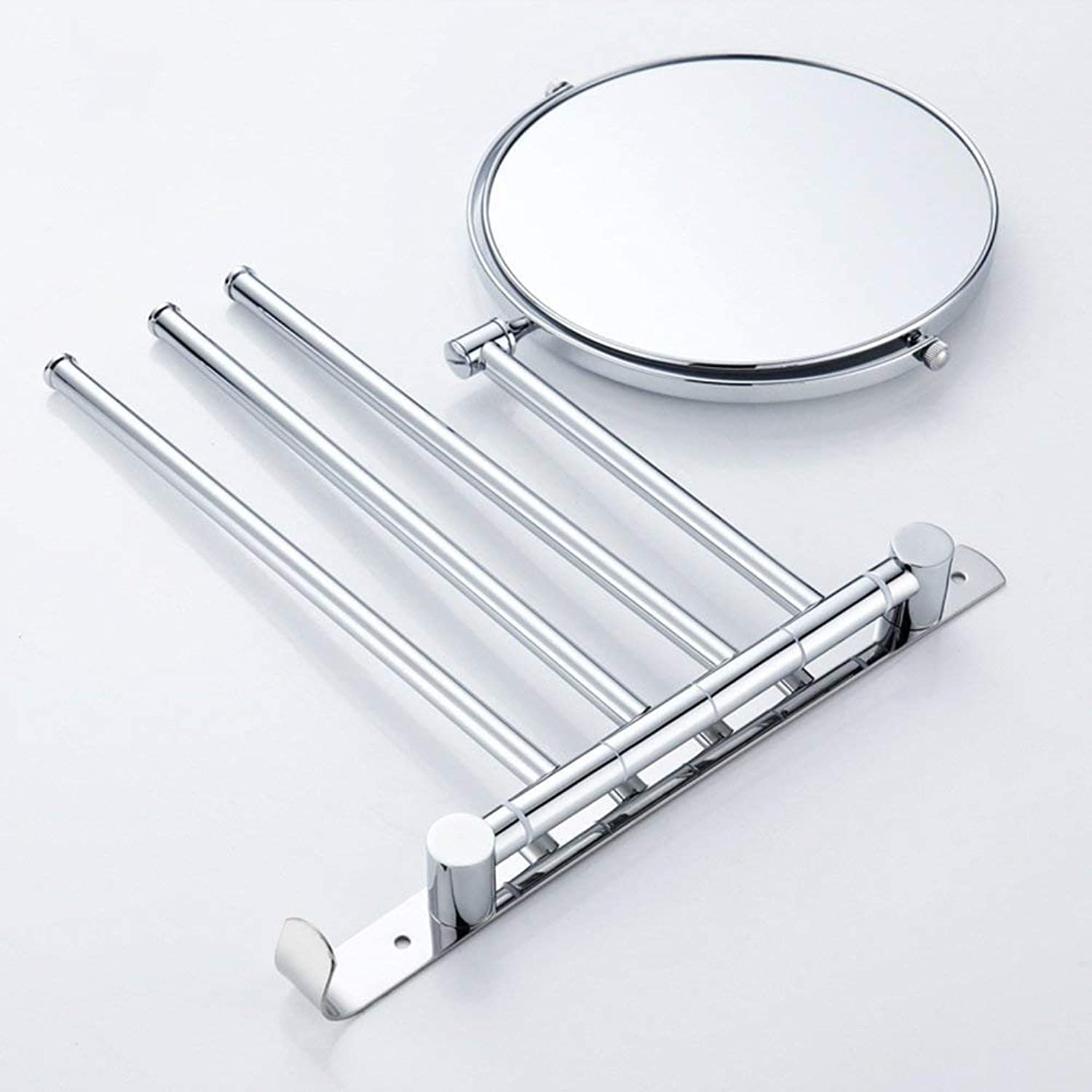 Portable Mini Stainless Steel Three-Bar redary Dry-Towels Mirror in The Bathroom + Beauty Mirror Suitable for Bedroom and Bathroom