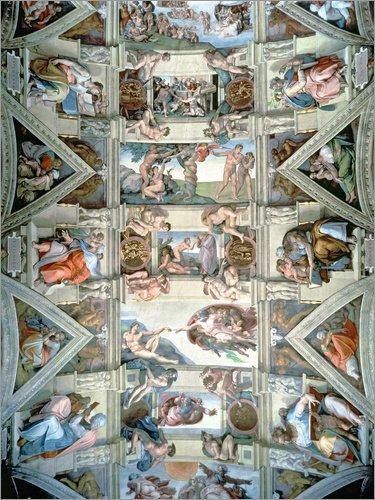 Leinwandbild 70 x 90 cm: Sixtinische Kapelle – Decke und Lünetten von Michelangelo / Bridgeman Images - fertiges Wandbild, Bild auf Keilrahmen, Fertigbild auf echter Leinwand, Leinwanddruck