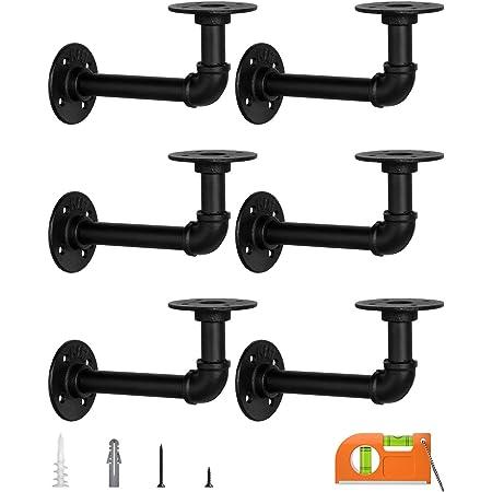 LuckIn Pipe Shelf Brackets for DIY 12-Inch Floating Shelves, Industrial Style, Matte Black, 6-Pack