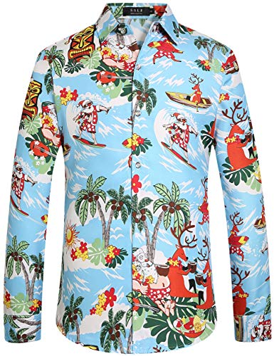 SSLR Men's Santa Claus Party Long Sleeve Hawaiian Ugly Christmas Shirts (Medium, Blue)