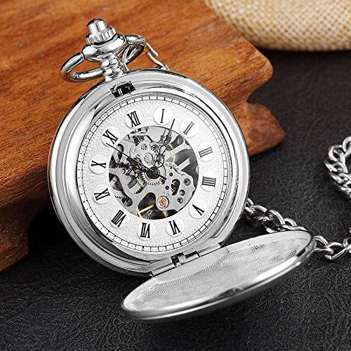 Reloj de Bolsillo Raya Plateada Tallada Vintage Reloj de Bolsillo mecánico Doble Cara Viento de Mano Hombres Mujeres Esqueleto Steampunk Cadena Relojes Fob