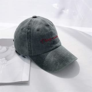 ZiWen Lu Korean Female Summer Washing to do The Old Cap Visor Child of Japanese Soft top Vintage Letter Embroidery Baseball Cap Male (Color : Grey, Size : One Size)