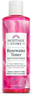 Heritage Store Rosewater Facial Toner w/Hyaluronic Acid   Hydrates & Refreshes Skin   No Dyes or Alcohol, Vegan   8oz