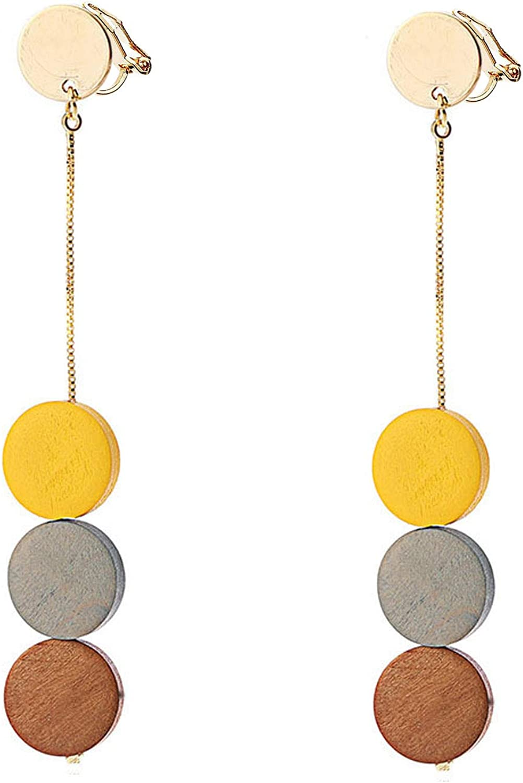 Clip on Earrings Tricolor Dangling Wood for Women Girls Kids Teens Gold Plated Long Drop Chandelier Boho