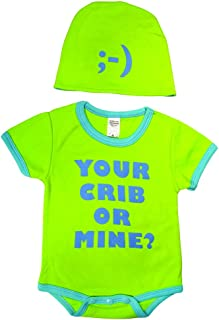Sozo Baby-Boys Newborn Your Crib Or Mine Bodysuit and Cap Set