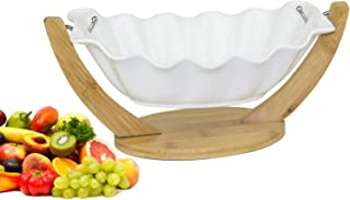 Ceramic Salad Fruits Bowl with Bamboo Holder Size-30x21x11CM, Hanging Ceramics and Bamboo Salad Bowl with Stand Decorative...