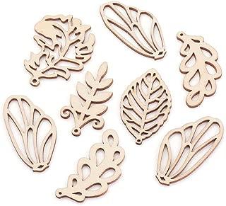 Kissitty 100Pcs Random Mixed Styles Filigree Hollow Wooden Leaf Pendants 47~49x22~37mm for DIY Jewelry Craft Making