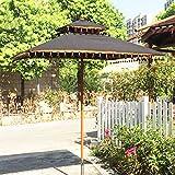 ZTMN Parasol de jardín de Madera |1.8x1.8m |Altura 2.5m |Sombrillas de sombrilla para Patio, protección contra los Rayos UV a Prueba de Viento, sombrillas Grandes con Flecos para Playa al Aire