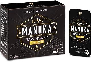 Kiva Raw Manuka Honey SNAP-Packets, Certified UMF 20+, New Zealand (28 Count   On-The-Go Single Packets)