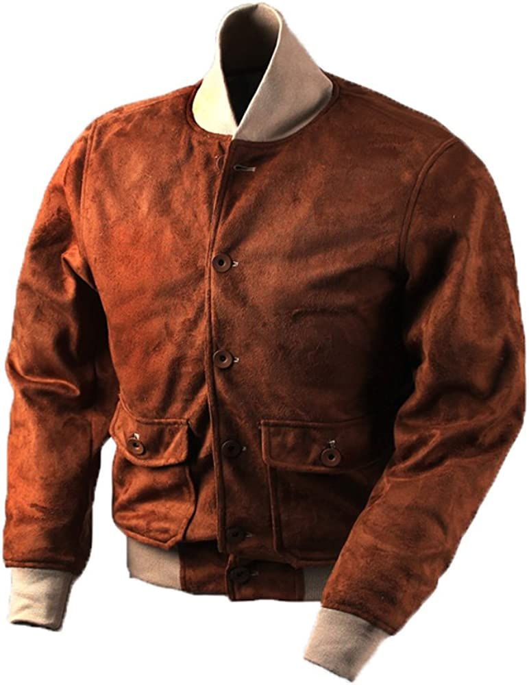 Vintage Faux Suede A-1 Fresno Mall Bomber Max 48% OFF for Military Outwear Men Jackets