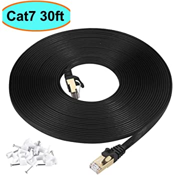 Cat7 Ethernet Cable 30 ft Black Shielded (STP), AULLOV High Speed Flat RJ45 Cat-7/Category 7 Internet LAN Computer Patch Cord Cable, Faster Than Cat5/Cat6-30 Feet Black (9 Meters)