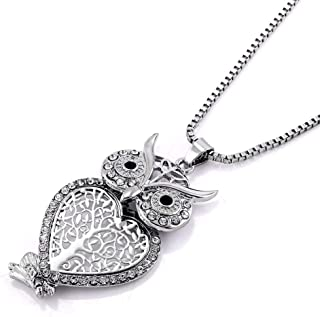 Women Silver Plated Owl Crystal Pave Pendant 30 Sweater Chain Neckalce Jewelry