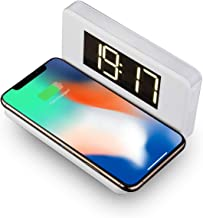 Alarm Clock with Qi Wireless Charging Pad for iPhone Samsung