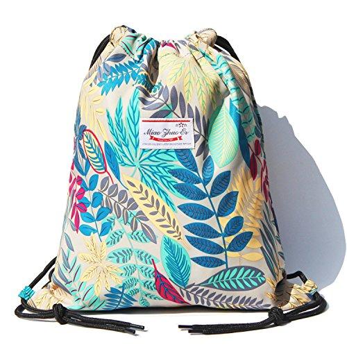 Alpaca Go Drawstring Bag Water Resistant Floral Leaf Lightweight Gym Sackpack for Hiking Yoga Gym Swimming Travel Beach (C - Grey)
